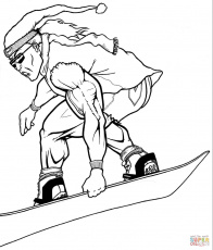 Muscular Snowboarder coloring page | Free Printable Coloring Pages