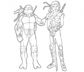 Ninja Turtles With Ninja Karai Coloring Pages - Ninja Turtles