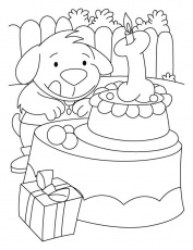 A puppy with the birthday cake coloring pages | Download Free A