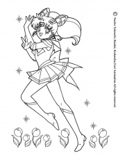 SAILOR MOON coloring pages - Sailor Moon in the middle of flowers