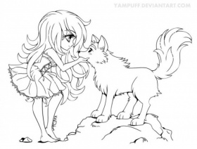 Get This Free Printable Anime Wolf Girl Coloring Pages 67318 !