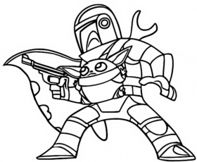 Coloring page The Mandalorian : The Mandalorian and Baby Yoda 1
