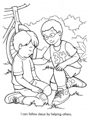 kids helping each other coloring page
