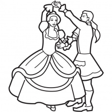 Princess and prince dancing coloring page | coloring pages