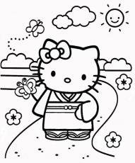 Hello Kitty Cooking Colouring Pages