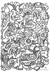 crazy faces coloring page | Tekenen: kleuren
