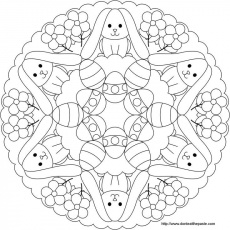 Easter Bunny and egg mandala to color | Coloring Patterns