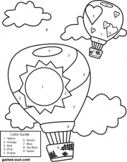 hot air balloons coloring by numbers - games the sun | games site