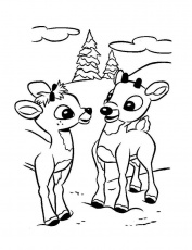 Print Rudolph The Reindeer And Friend Coloring Page or Download