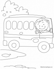 The bus driver says OK, TATA, Bye-Bye coloring pages | Download