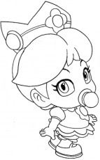 Print Baby Princess Peach Mario Coloring Pages or Download Baby