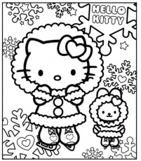 Hello Kitty in the winter - free coloring pages | Coloring Pages