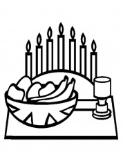 Kwanzaa With Food Coloring Page | Kwanzaa Coloring Page