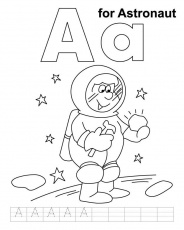 A for astronaut coloring page with handwriting practice | Download