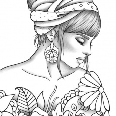 Printable coloring page girl portrait ...etsy.com · In stock