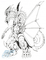 Mecha-King Ghidorah sketch · RFCreations · Online Store Powered by Storenvy