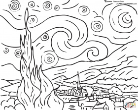 Starry Night By Vincent Van Gogh coloring page | Free Printable ...