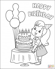 Happy Birthday with Girl 4 coloring page | Free Printable Coloring Pages