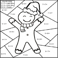 Christmas Math Coloring Page