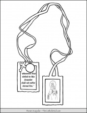 Brown scapular coloring page. | Coloring pages, Scapular, Catholic coloring