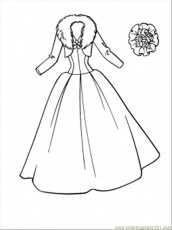 printable coloring page wedding dress entertainment clothing