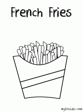French Fries Coloring Page - My First ABC