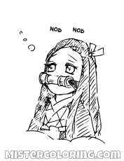 Nezuko Kamado Thinking Demon Slayer Coloring For Kids ...