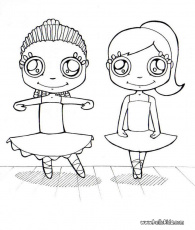 DANCE coloring pages - Group of young ballet dancers