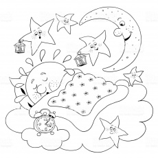 Sun Moon Stars coloring pages