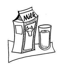 Milk Carton and Glass of Delicious Milk Coloring Page - NetArt