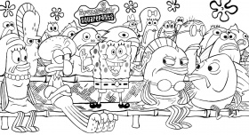 Spongebob And Friends : Take The Attention Spongebob Coloring ...