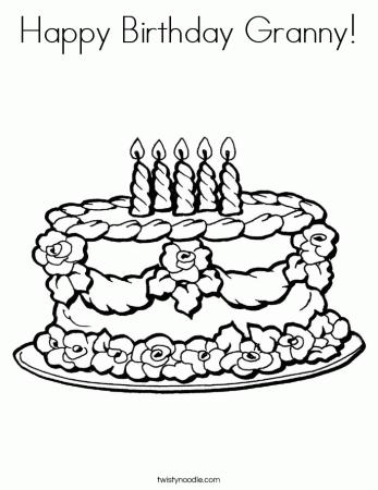 Happy Birthday Granny Coloring Page