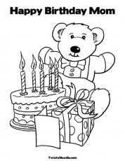 Happy Birthday Coloring Pages For Mom - Coloring
