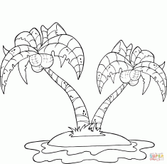 Coconut Palm Trees on Island coloring page