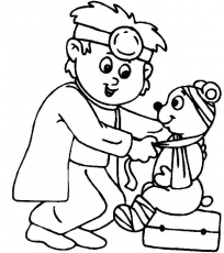 Little Veterinary Take Care Wounded Bear On Jobs Coloring Pages