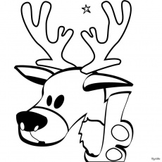 SANTA'S REINDEER coloring pages - Reindeer head
