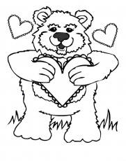 Happy Valentine Teddy Bear Coloring Pages