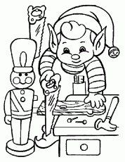 Elf Working of Christmas Coloring Page – Free Christmas Coloring