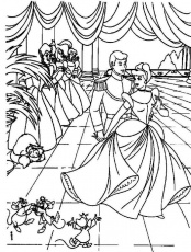 Cinderella In Ball With Prince Disney Coloring Pages - Princess