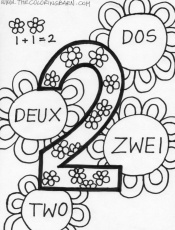 Number 2 Coloring Page Number Two Multilingual Coloring Pages